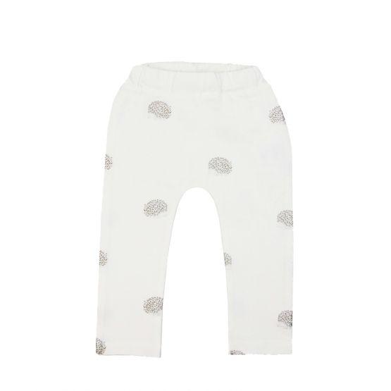 Baby White Leggings in Hedgehog Print