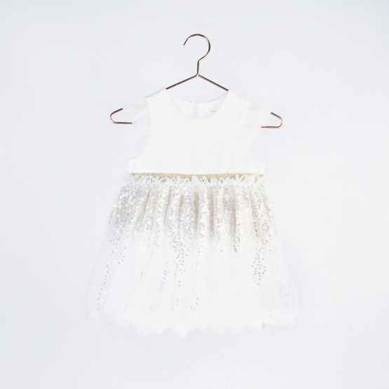 Ballerina Series - Bubble Dress in White with Sequins
