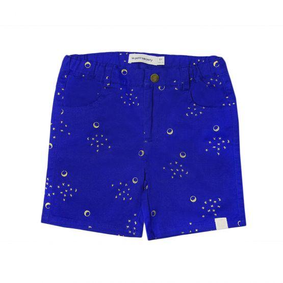 Crane Series - Boys Blue Bermuda with Moon & Stars