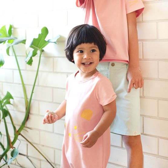 Mouse Series - Baby Jersey Romper in Dusty Pink