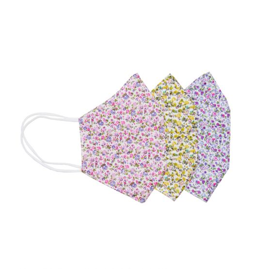 *Special* Set Of 3 Personalisable Reusable Kids & Adult Masks in Pink, Yellow & Purple Blossom Print