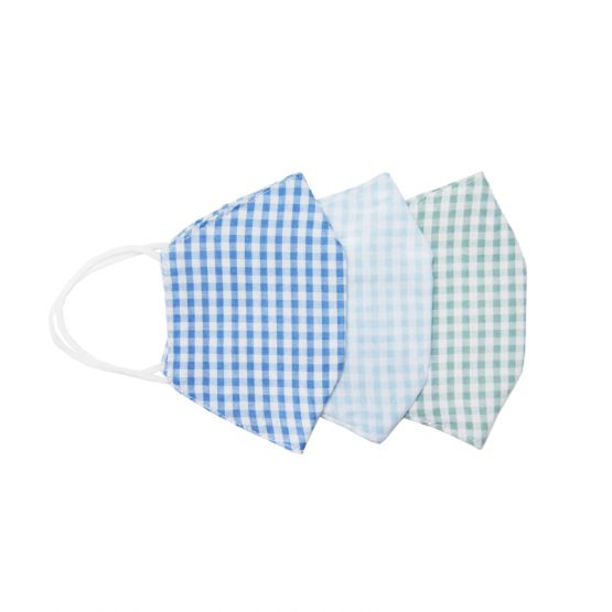 *Special* Set Of 3 Personalisable Reusable Kids & Adult Masks in Blue, Green & Pastel Blue Gingham