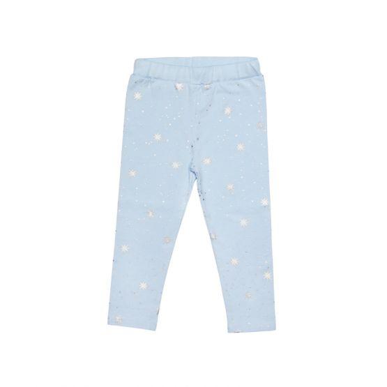 Kids Blue Leggings in Snowflake Print