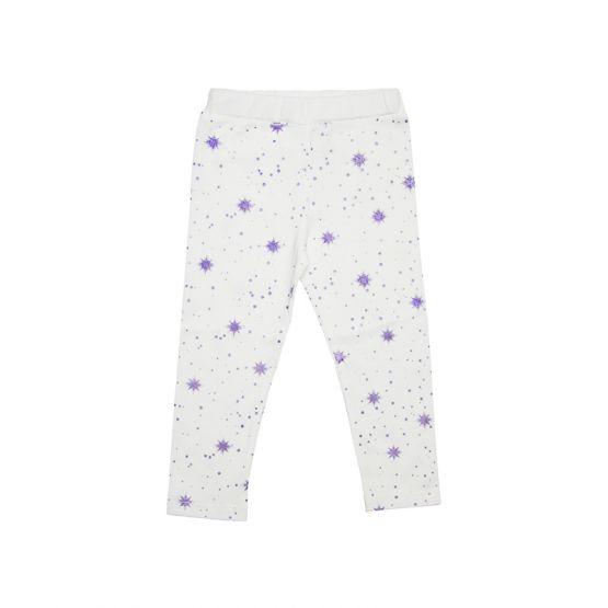 Kids White Leggings in Snowflake Print