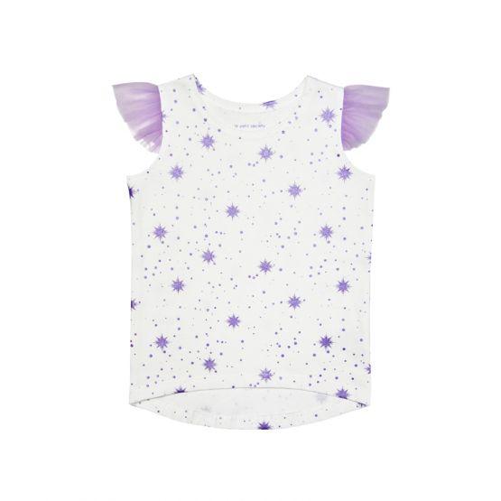 Girls White Tank in Snowflake Print