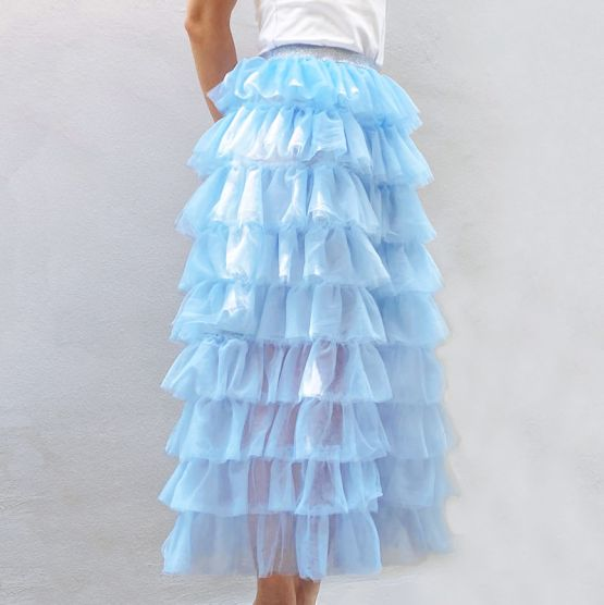 Ladies Maxi Tulle Skirt in Winter Blue