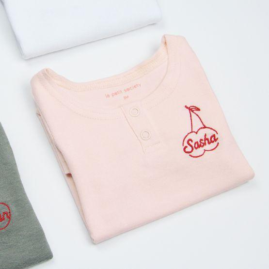 *Bestseller* Personalisable Long Sleeves Blush Pink Baby Onesie