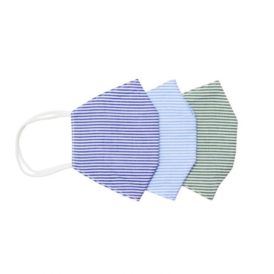 *Special* Set Of 3 Personalisable Reusable Kids & Adult Masks in Green, Navy & Light Blue Stripes