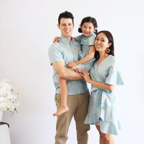 Crane Series - Ladies Wrap Dress in Sky Blue
