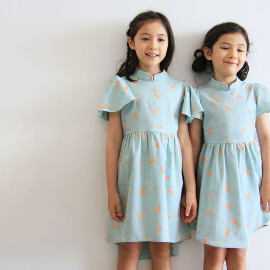 Crane Series - Girls High-Low Dress in Sky Blue