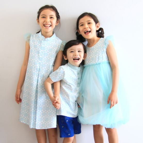 Chinese Knots Series - Girls Bubble Dress in Blue