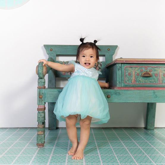 Chinese Knots Series - Baby Girl Bubble Dress in Blue