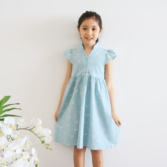 Cherry Blossom Series - Girls Blue Dress with Leaves