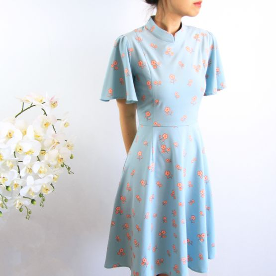 Cherry Blossom Series - Ladies Butterfly Sleeves Dress in Blue