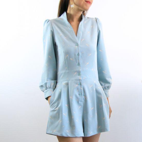 Cherry Blossom Series - Ladies Long Sleeves Romper in Blue