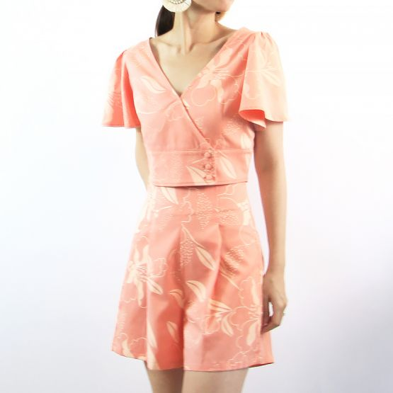 Cherry Blossom Series - Ladies High-Waisted Shorts in Peach