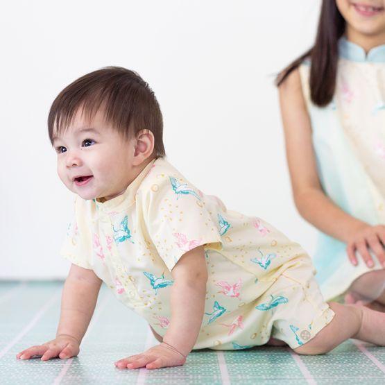 Crane Series - Baby Boy Shirt Romper in Cream
