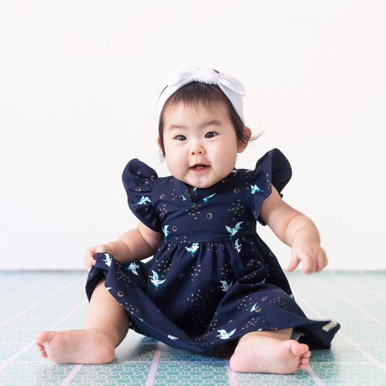 Crane Series - Baby Girl Dress in Navy
