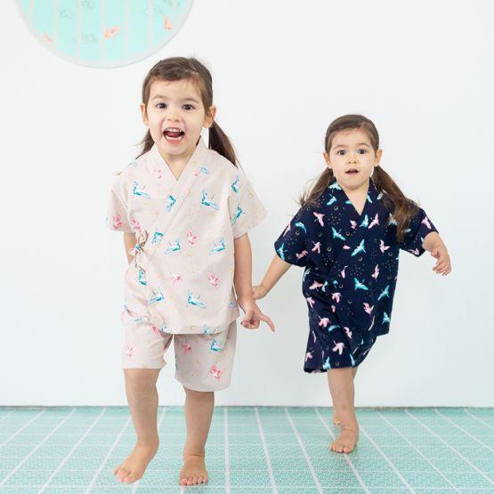 Crane Series - Kids Kimono Set in Beige