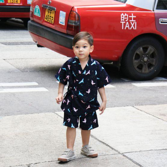 Crane Series - Kids Kimono Set in Navy