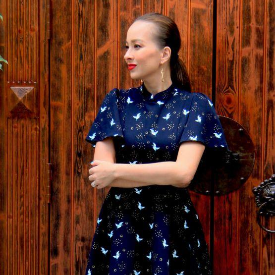 Crane Series - Ladies Butterfly Sleeves Dress in Navy