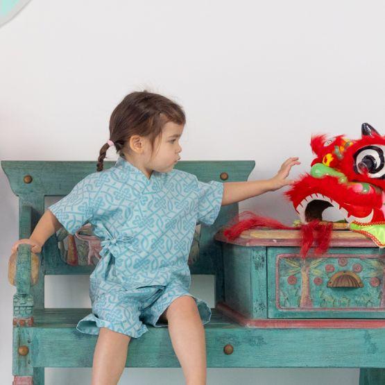 Chinese Knots Series - Kids Kimono Set in Blue