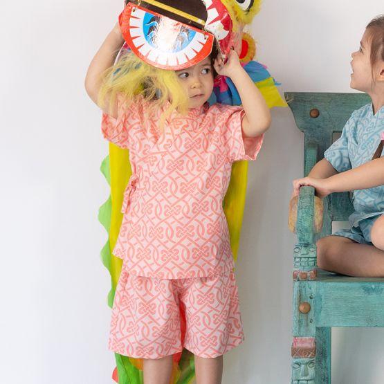 Chinese Knots Series - Kids Kimono Set in Pink