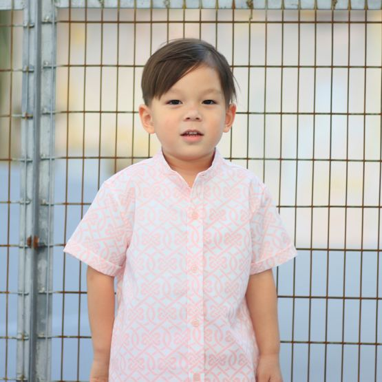 Chinese Knots Series - Boys Shirt in Pink