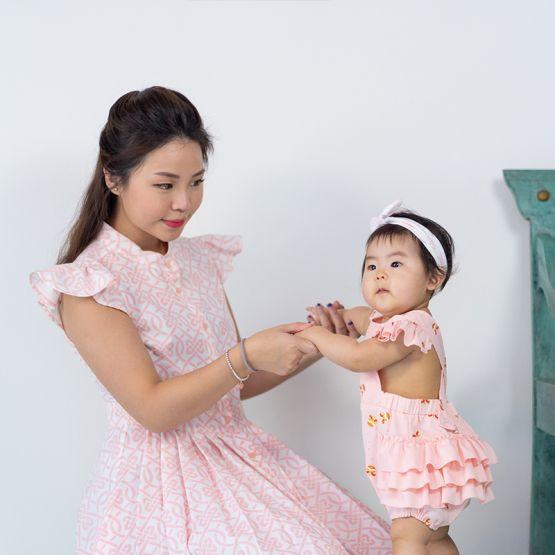 Lion Dance Series - Baby Girl Ruffles Romper in Pink