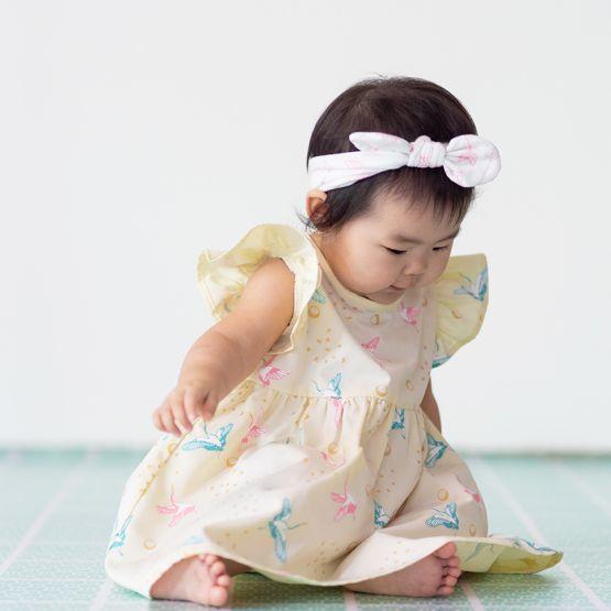 Crane Series - Baby Girl Dress in Cream