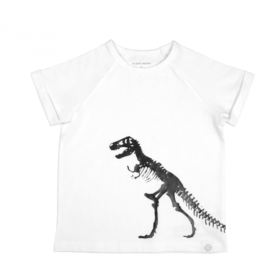 Dino T-Rex Skeleton White Raglan Tee