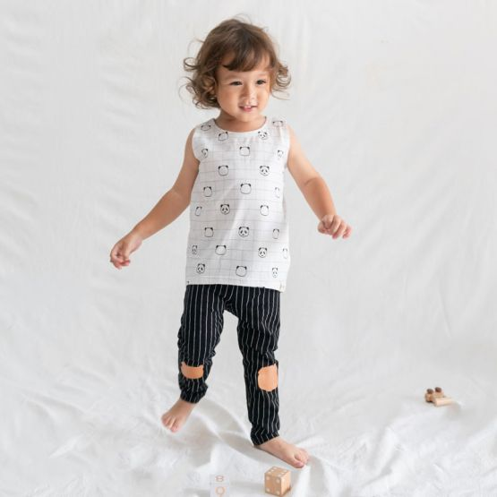 Kids Black Striped Leggings with Panda Patches