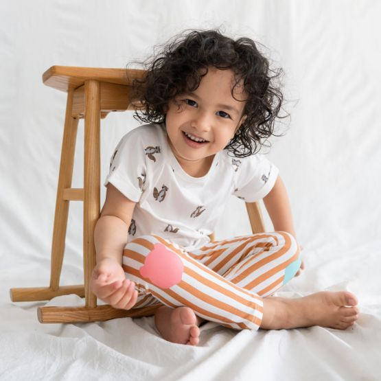 Kids Brown Striped Leggings with Panda Patches