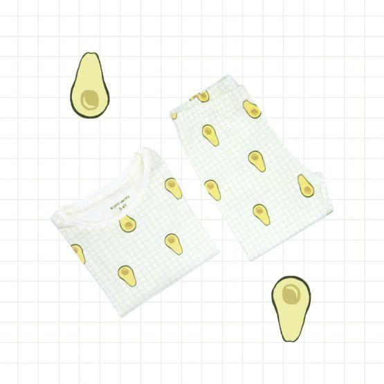 *New* Personalisable Kids Long Sleeve Organic Pyjamas Set in Avocado Print