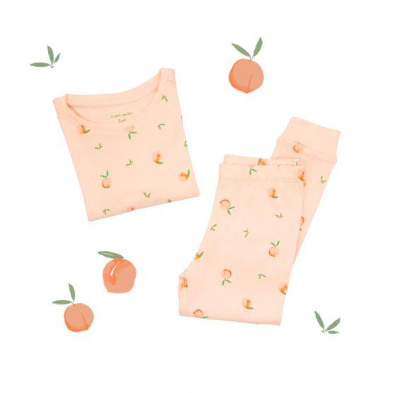 *New* Personalisable Kids Long Sleeve Organic Pyjamas Set in Peach Print