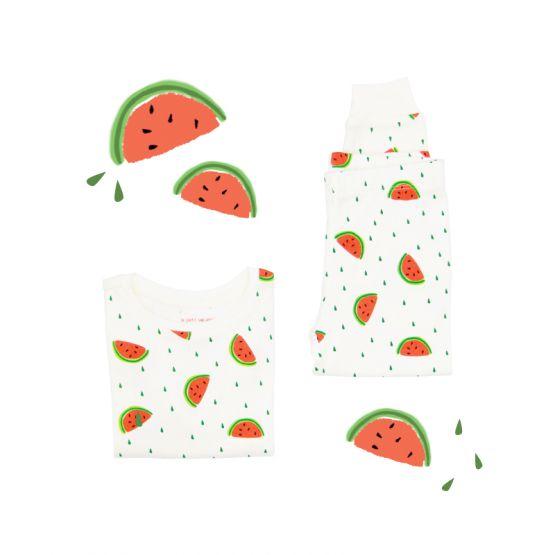 *New* Personalisable Kids Long Sleeve Organic Pyjamas Set in Watermelon Print