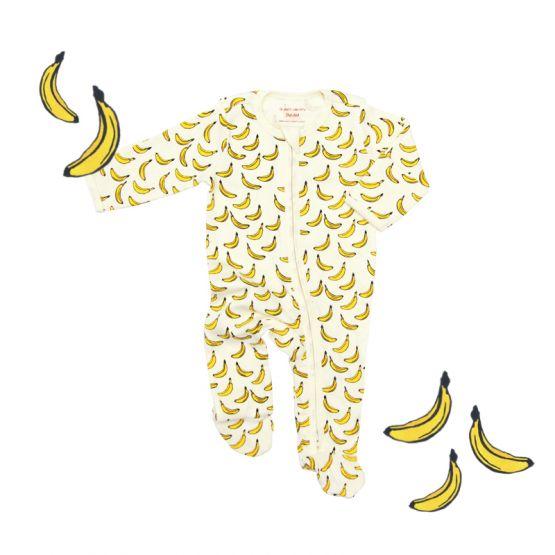 *New* Personalisable Baby Organic Zip Sleepsuit in Banana Print