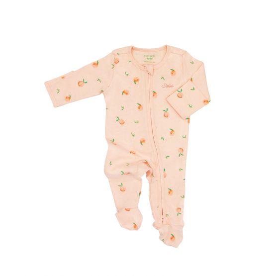 *New* Personalisable Baby Organic Zip Sleepsuit in Peach Print