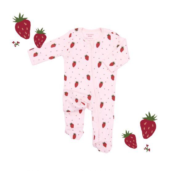 *New* Personalisable Baby Organic Zip Sleepsuit in Strawberry Print