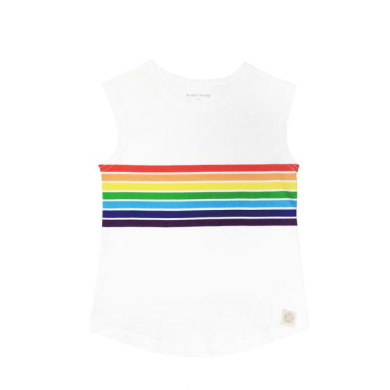 Personalisable Kids Rainbow Tank in White