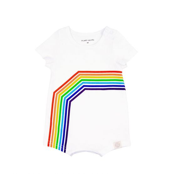 Personalisable Baby Rainbow Short Sleeves Romper in White - Left Arc