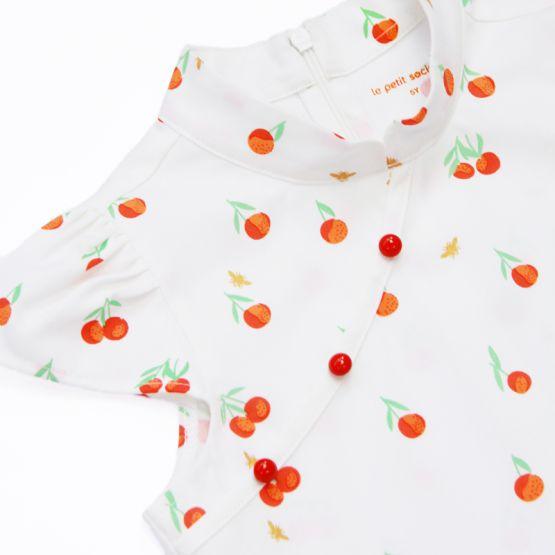 Mandarin Orange Series - Girls Dress in White