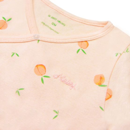 *New* Personalisable Baby Organic Romper in Peach Print