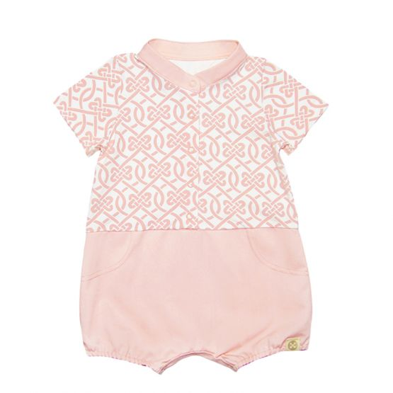 Chinese Knots Series - Baby Boy Shirt Romper in Pink
