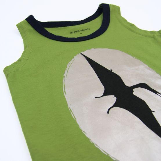 Close Up of Dinosaur Pterodactyl Print Green Tank