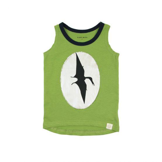 Dinosaur Pterodactyl Print Green Tank