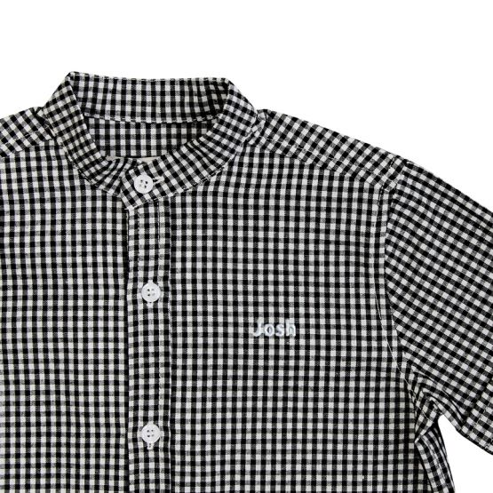 *New* Personalisable Boys Shirt in Black Gingham