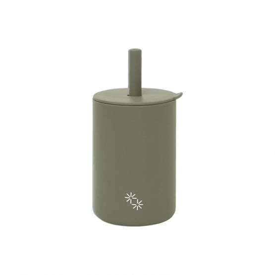 Sippy Straw Cup in Sage Grey by The Paper Bunny