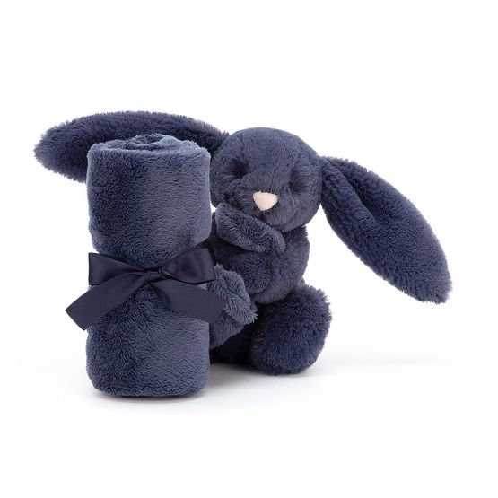Personalisable Bashful Navy Bunny Soother by Jellycat