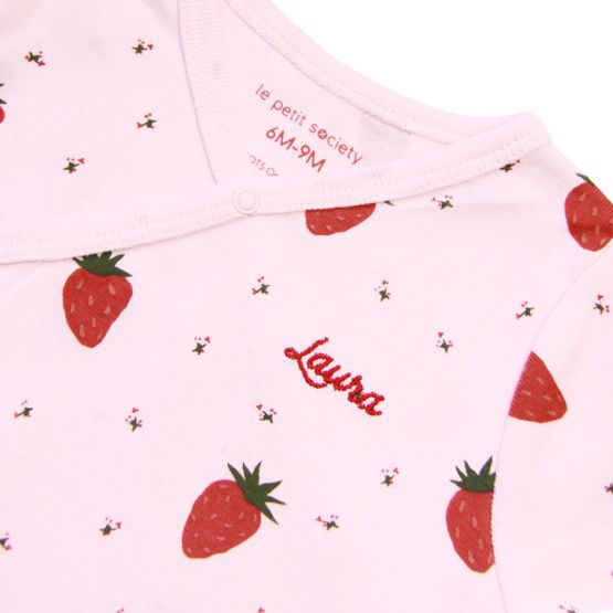 *New* Personalisable Baby Organic Romper in Strawberry Print